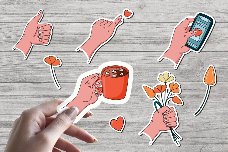 Hands with gestures, stickers. example image 1
