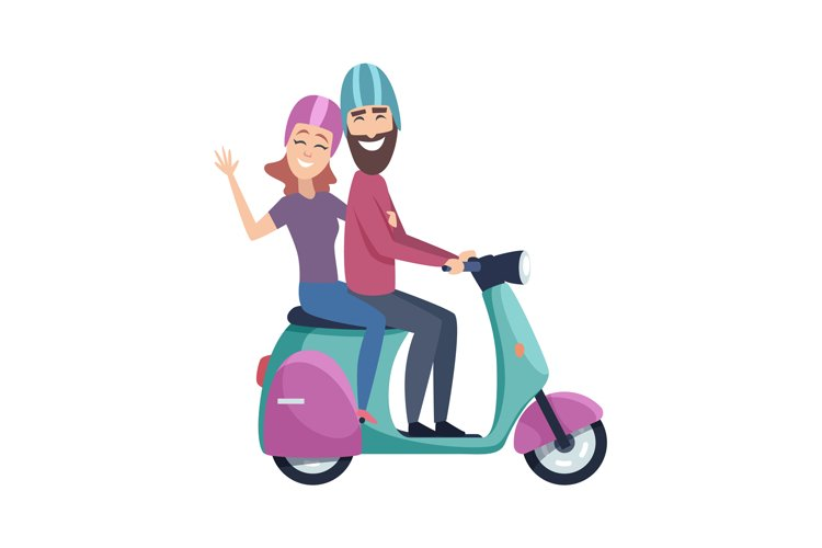 Travellers on scooter. Happy tourists riding motorbike. Isol