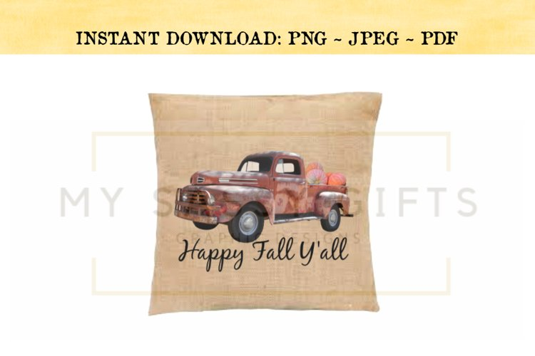 Happy Fall Y'all Rustic Red Truck With Pumpkins PNG example image 1