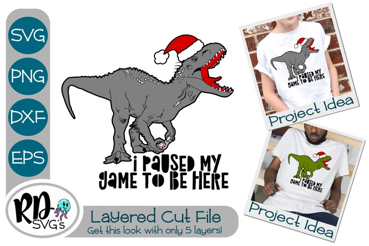Dinosaur Gaming Christmas Svg - A Layered Cricut Cut File