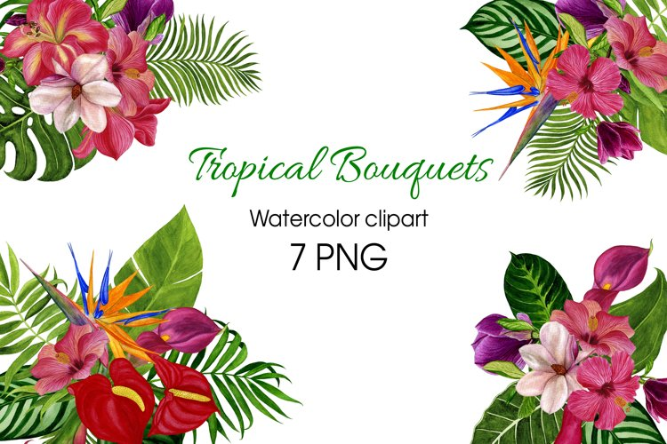 Watercolor tropical bouquets digital clipart