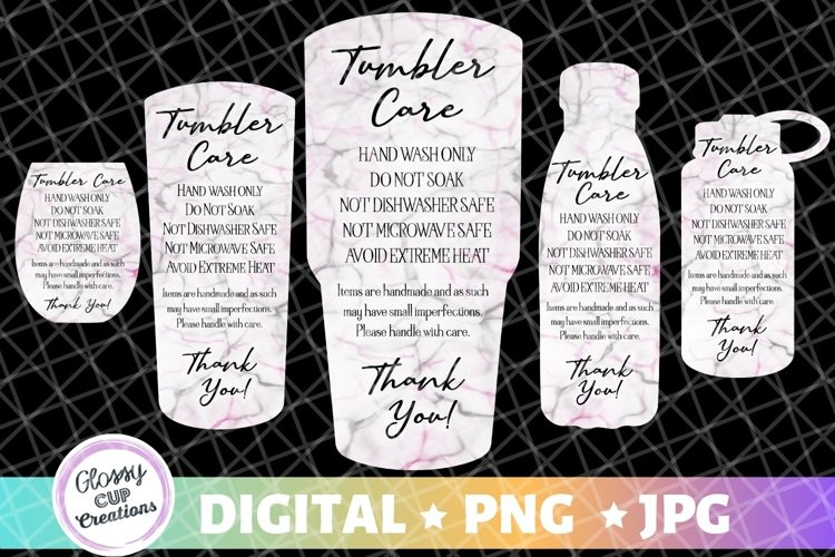 Tumbler Care Cards - Black and Pink Marble - 5 Pack! example image 1
