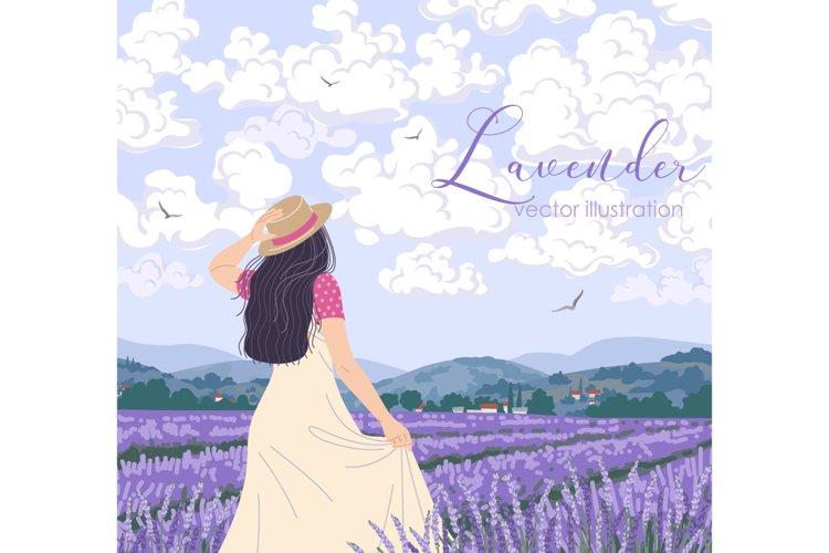Summer Landscape with Lavender Field - Vector Illustration