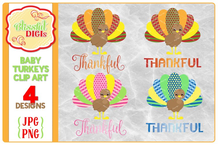 Cute Baby Turkey Clip Art - Thanksgiving, Fall, PNG/JPG example image 1