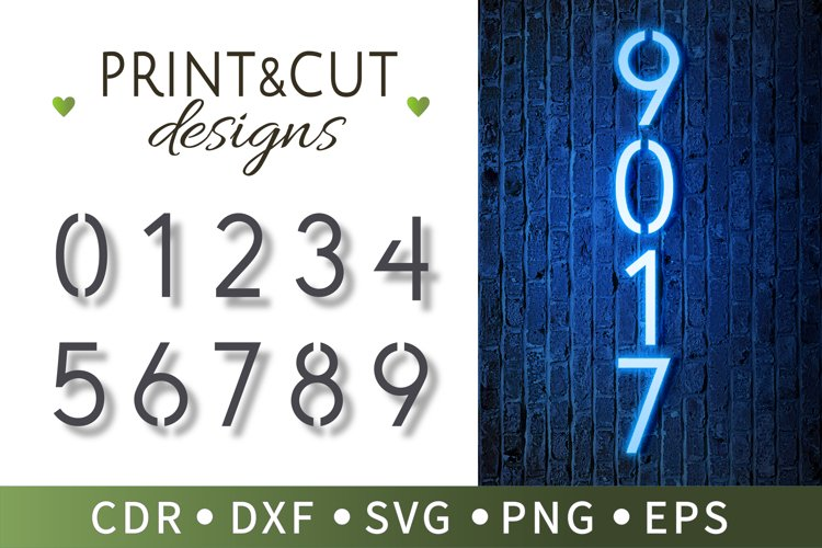 10 Number stencils, Typographic number patterns, SVG, Cricut example image 1