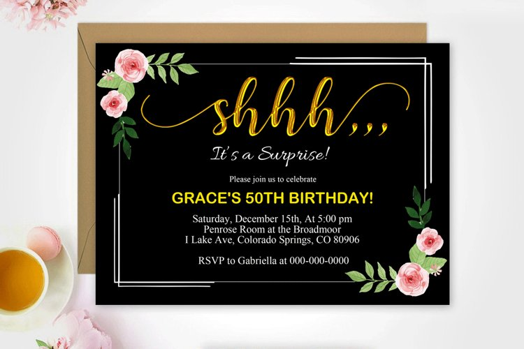 Floral surprise birthday invitation, DAD_16 example image 1