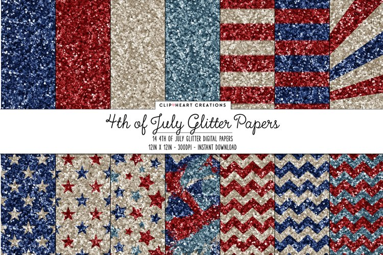 4th of July Themed Glitter Paper Digital Papers example image 1