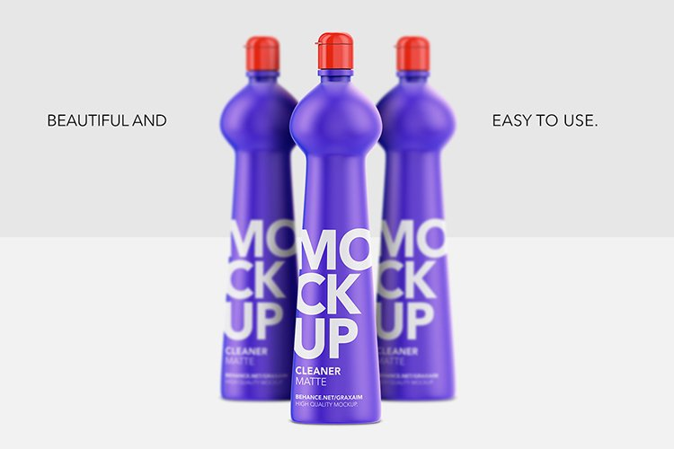 Cleaner Bottle Mockup - Matte - Front View