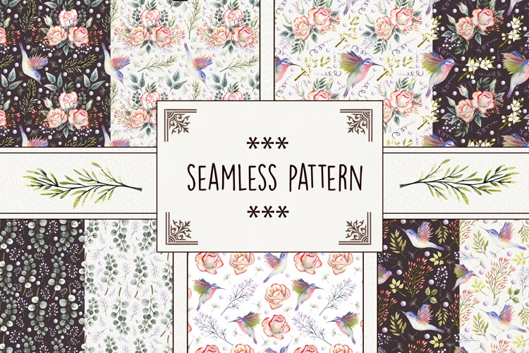Roses and hummingbirds. Seamless pattern