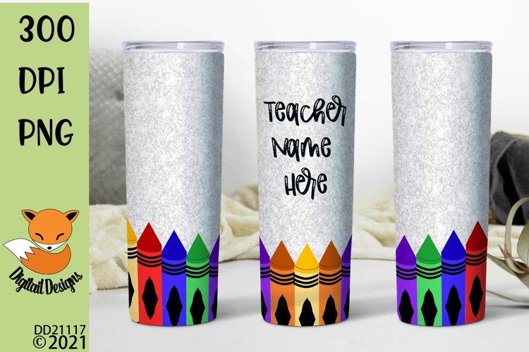 Glitter Effect Teacher Crayon Skinny Tumbler Sub example image 1