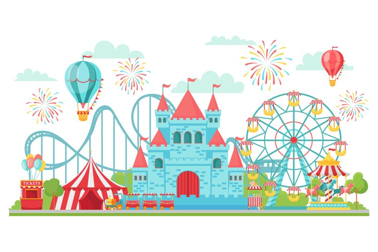 Amusement park. Roller coaster, festival carousel and ferris example image 1
