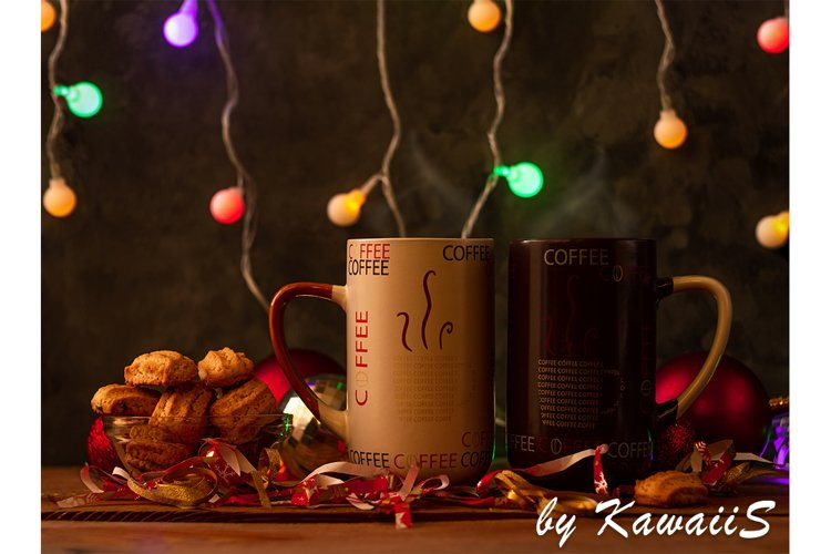 Christmas coffee cups with colorful lights New Year romance example image 1