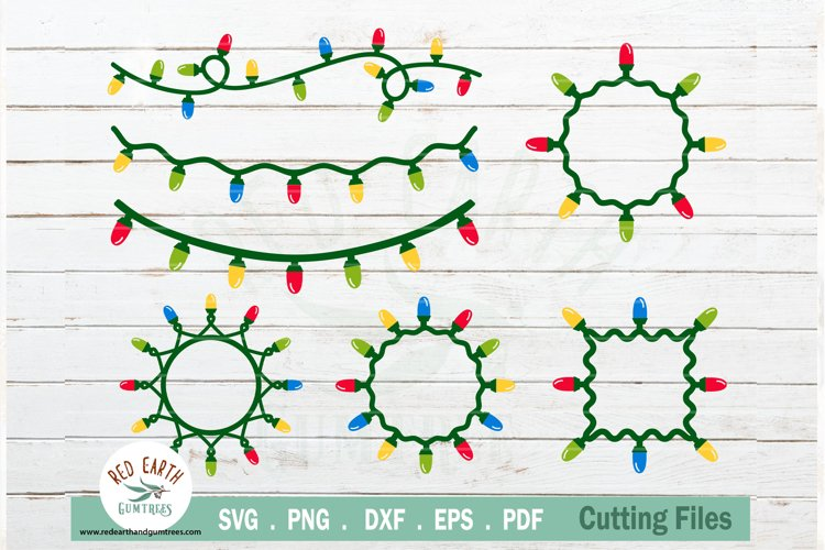 Christmas lights decor clipart bundle in SVG,PNG,DXF,EPS,PDF example image 1