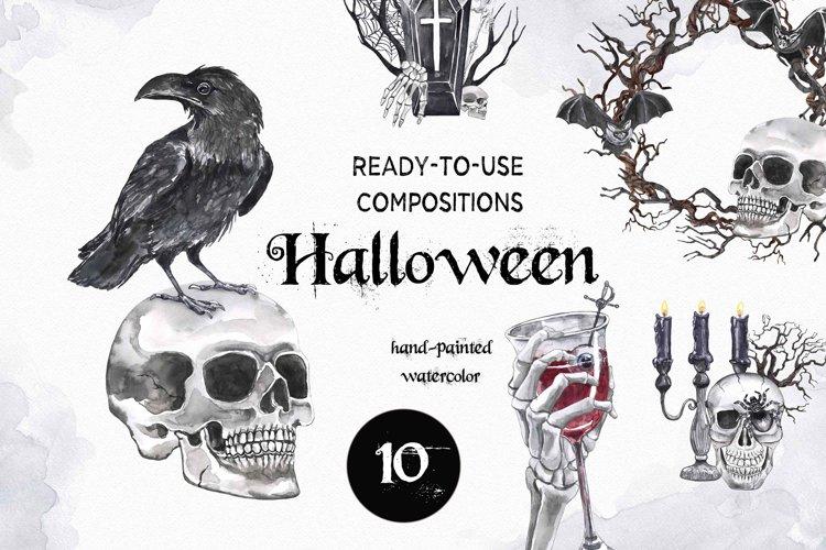 Spooky Halloween clipart Watercolor Illustrations set