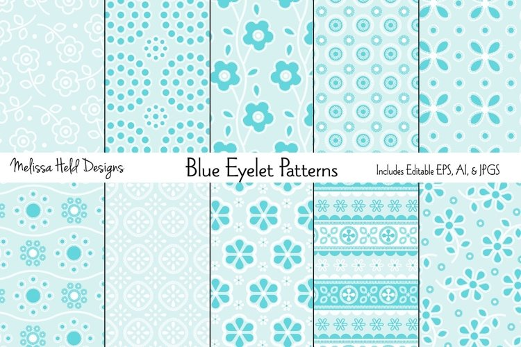 Blue Eyelet Embroidery Patterns