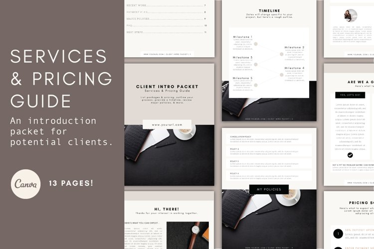 Client Services & Pricing Guide Template | Services Packet