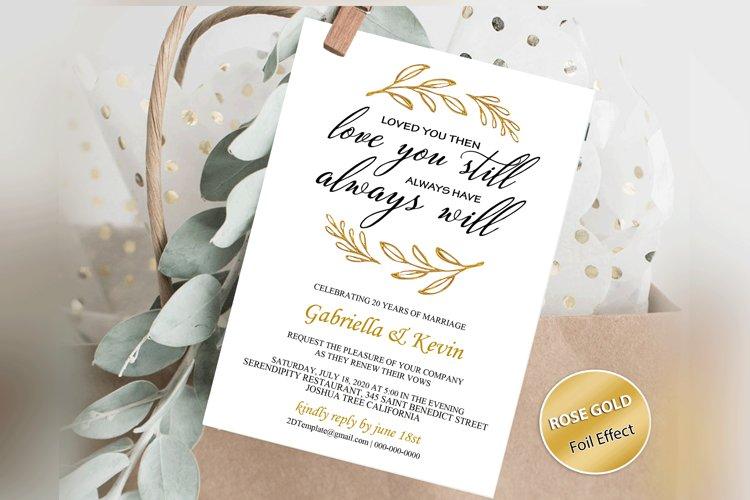 Renew Vows Invitation Template, Anniversary Invite example image 1