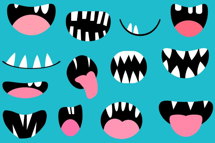 Funny monster mouths clipart set Halloween teeth and tongues