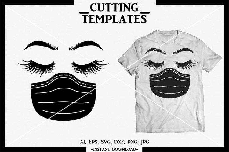 Quarantine Face, Nurse Face SVG, Silhouette, Cricut, Cameo example image 1