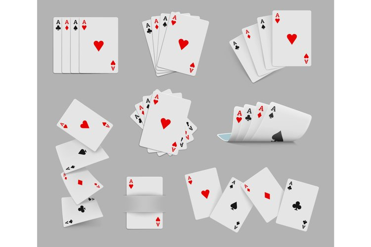 Four aces playing cards set example image 1