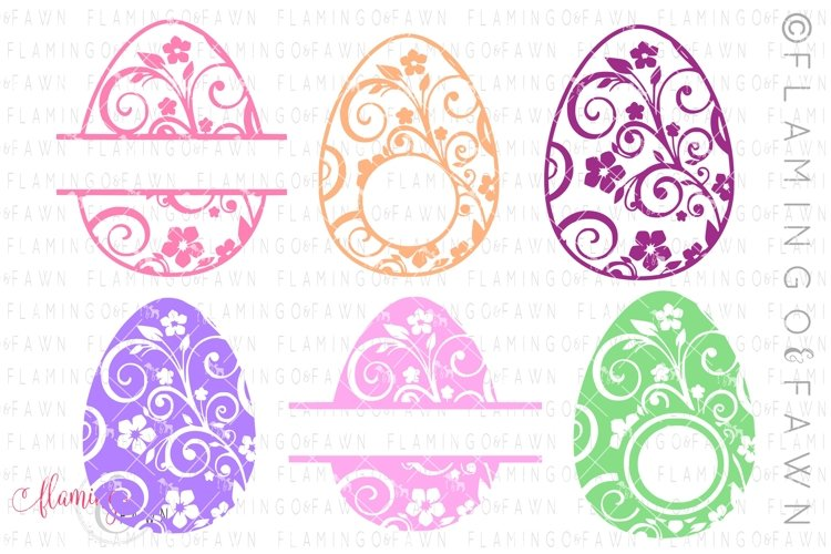 Easter egg monogram flourish bundle svg dxf eps png example image 1