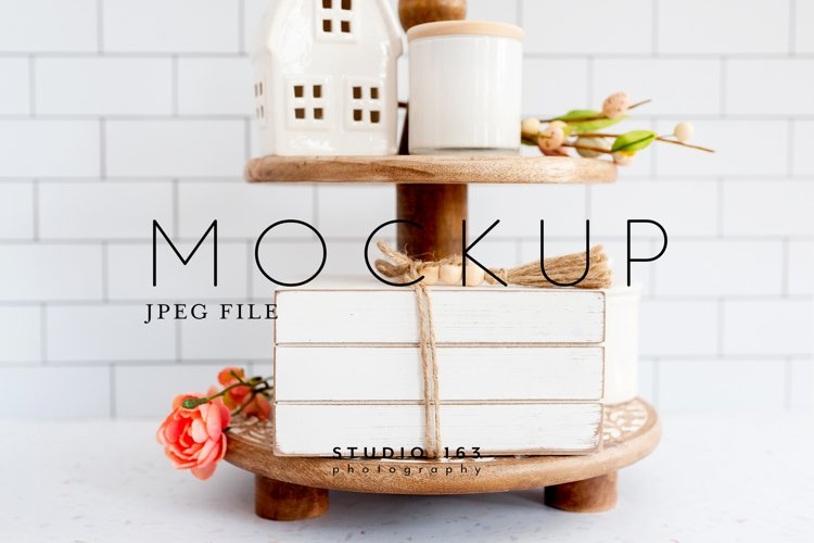 Wooden Book Stack Mockup, Tier Tray, Shelf Decor Photo, JPEG example image 1