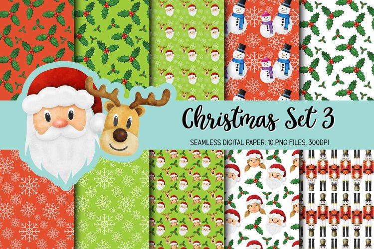 Watercolor Christmas Seamless Digital Papers Set 3