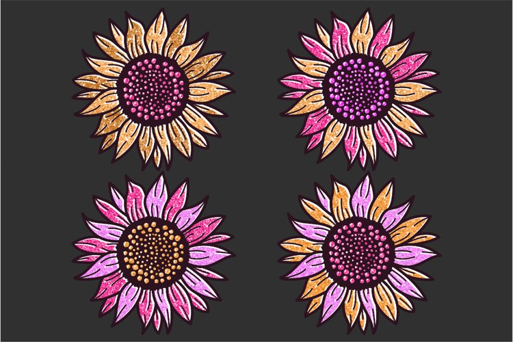 Golden Glitter Sunflowers Sublimations mini Bundle, Sunflowe example 6