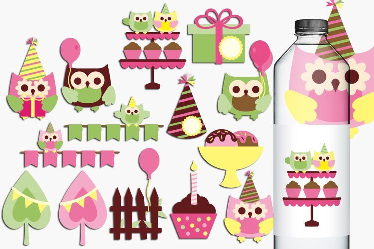 Birthday Party Owls Illustrations and Graphics example image 1