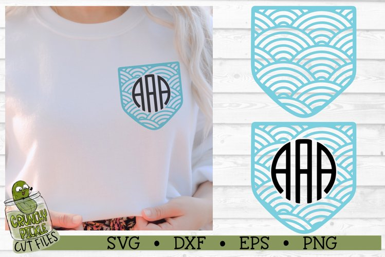 Pickle Pockets - Monogram Pocket Waves SVG Cut File