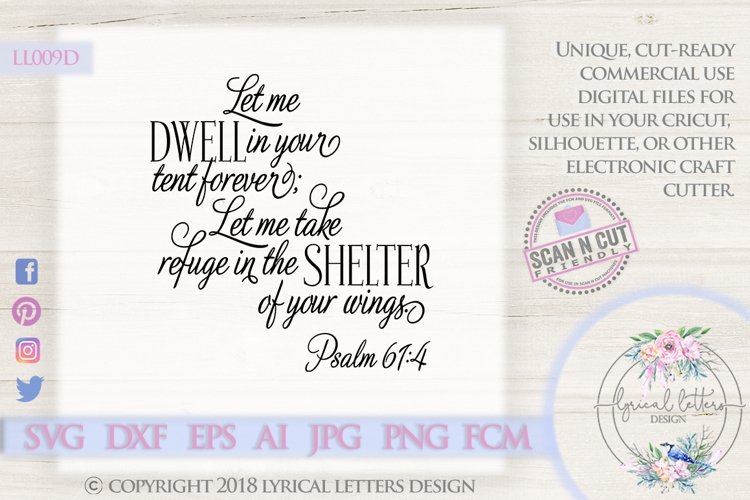 Shelter of Your Wings Psalm 61 SVG DXF LL009D example image 1