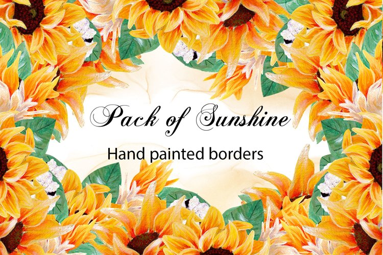 Pack of sunshine- hand painted sunflower borders example image 1