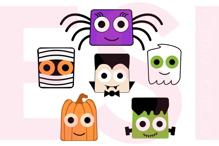 Halloween Square Heads Character Design Set example