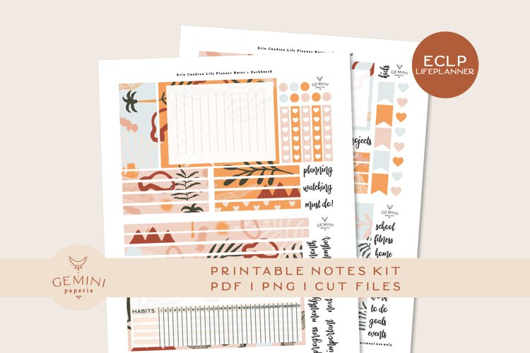 Erin Condren Notes and Dashboard Pages Sticker Kit