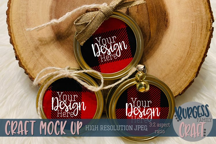 Mason jar lid ornament trio Craft mock up |High Res JPEG example image 1