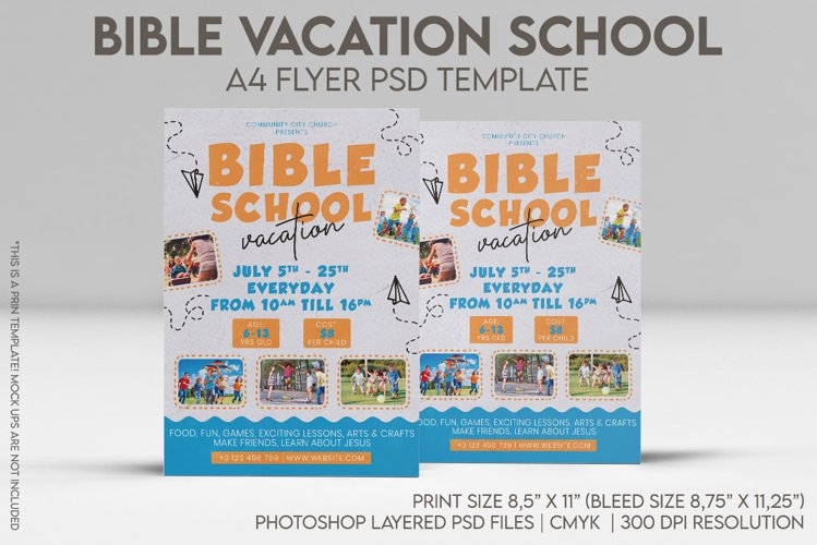 Bible Vacation School A4 Flyer PSD Template example image 1