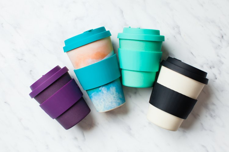 Bamboo reusable cups for coffee example image 1