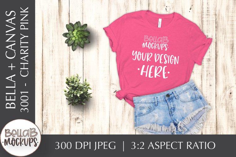Bella Canvas 3001 Woman's T Shirt Mockup, Charity Pink example image 1