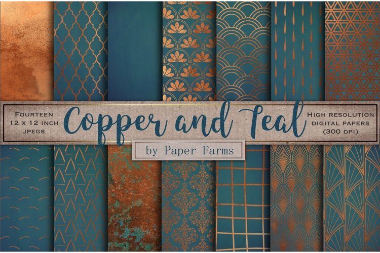 Copper teal pattern backgrounds