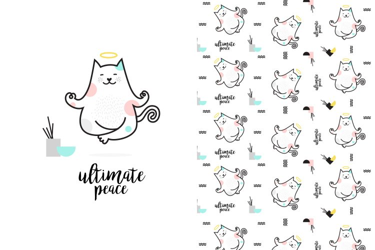 Cute yoga cat illustration with pattern example image 1