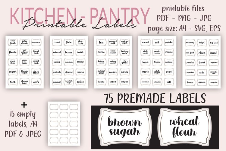 Printable Kitchen Labels, Pantry Labels Spices, Herbs Labels