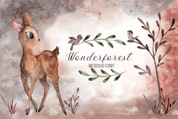 Wonderforest. Watercolor hand draw example image 1