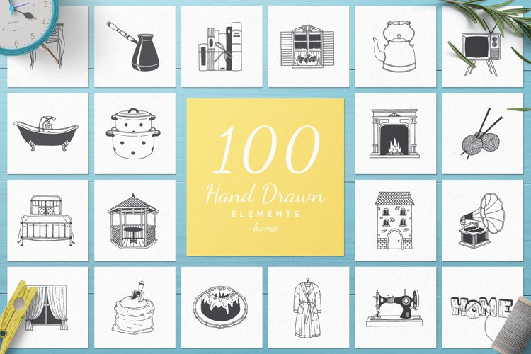 100 Hand Drawn Elements -Home- example image 1
