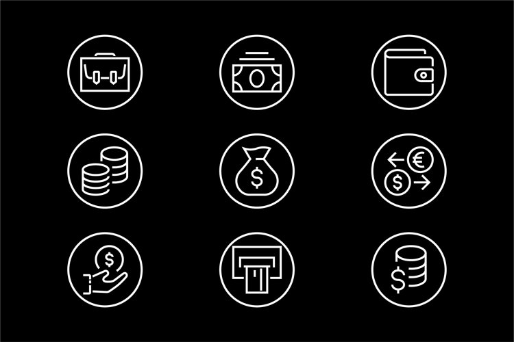 set of linear icons on the theme of Business