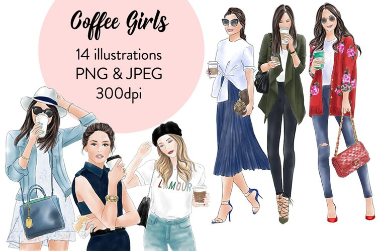 Coffee girls watercolour illustration clipart - Free Design of The Week Font