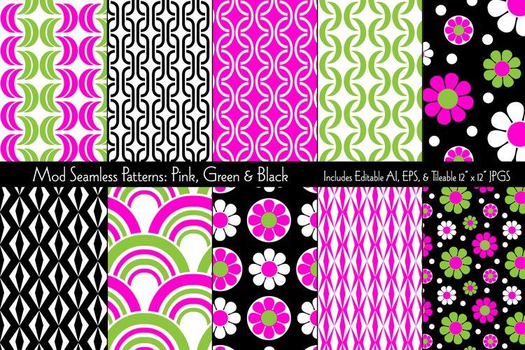 Mod Seamless Patterns Pink Green & Black