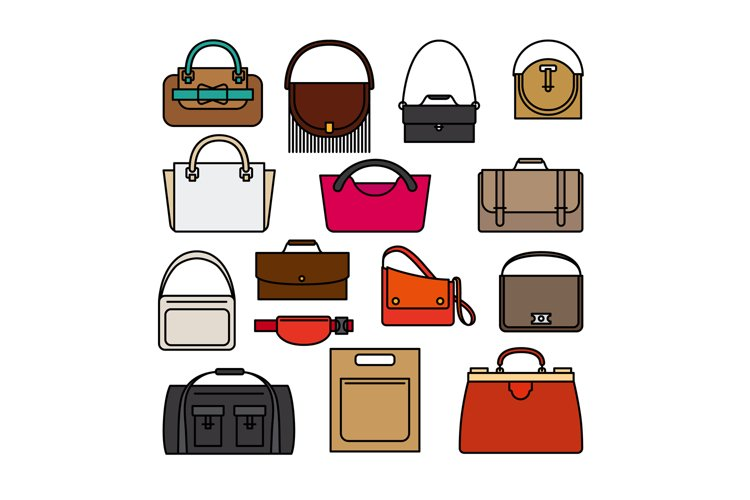 Bag colored icons. Bags and handbags vector icons example image 1