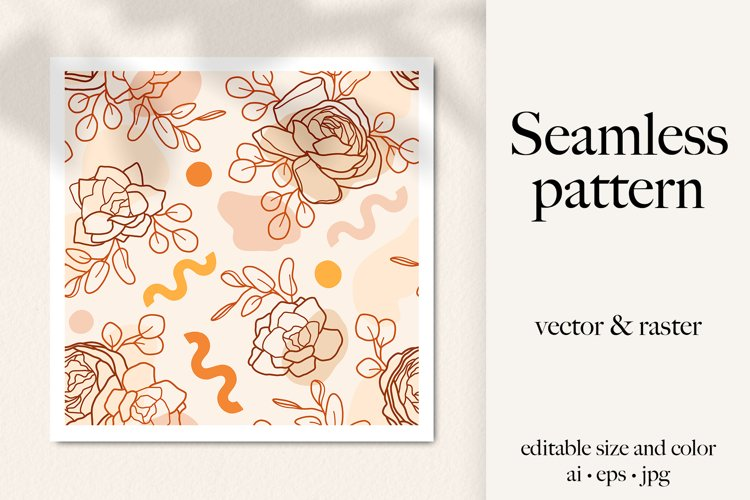 Line art flowers & abstractions boho vector seamless pattern