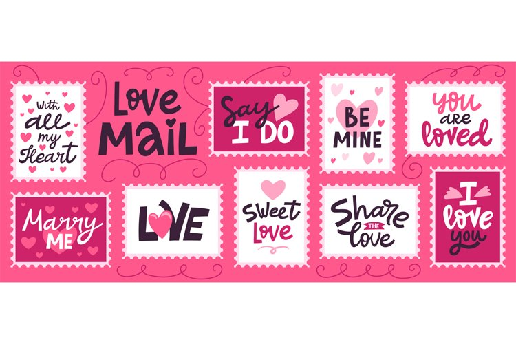 Love mail stamp. Hand drawn love romantic lettering for vale example image 1