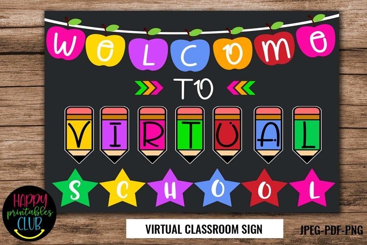 Welcome to Virtual School Sign/Poster- Virtual School Sign example image 1